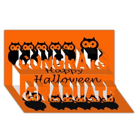 Happy Halloween - owls Congrats Graduate 3D Greeting Card (8x4)