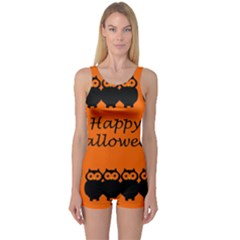 Happy Halloween - owls One Piece Boyleg Swimsuit