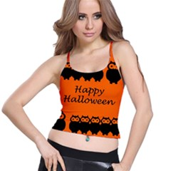 Happy Halloween - owls Spaghetti Strap Bra Top