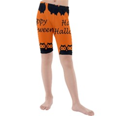 Happy Halloween   Owls Kids  Mid Length Swim Shorts
