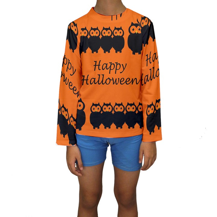 Happy Halloween - owls Kids  Long Sleeve Swimwear