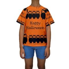 Happy Halloween   Owls Kids  Short Sleeve Swimwear