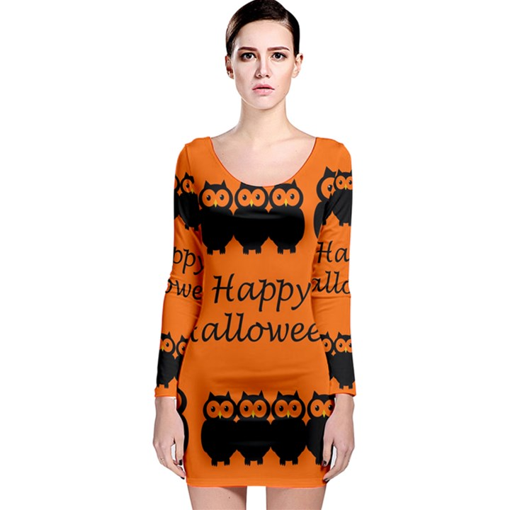 Happy Halloween - owls Long Sleeve Bodycon Dress