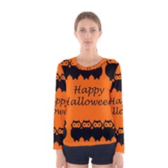 Happy Halloween   Owls Women s Long Sleeve Tee