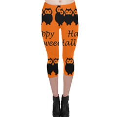 Happy Halloween   Owls Capri Leggings