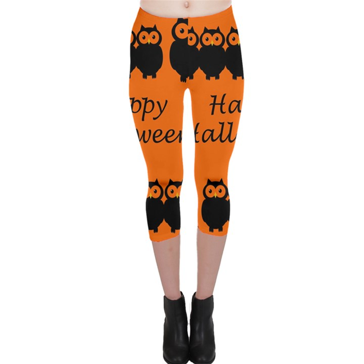 Happy Halloween - owls Capri Leggings