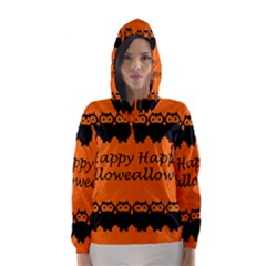 Happy Halloween   Owls Hooded Wind Breaker (women)