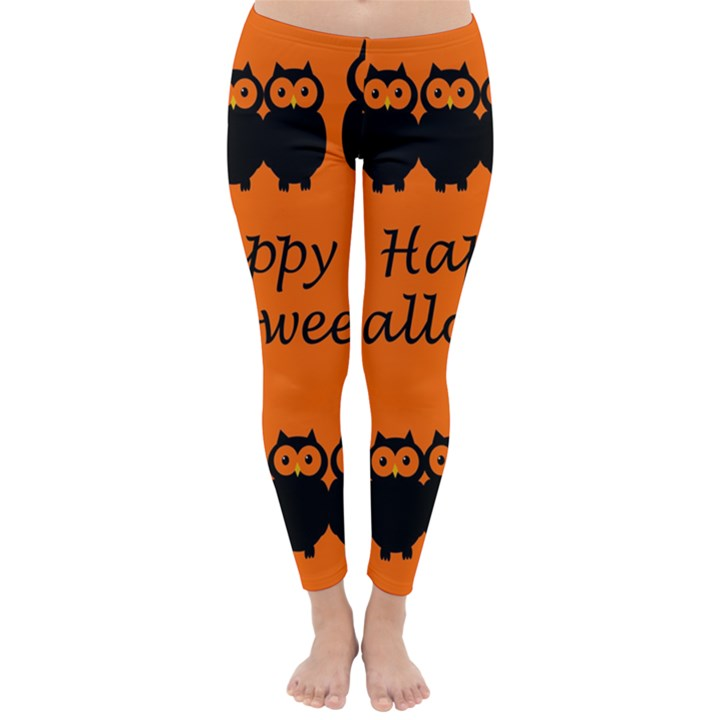 Happy Halloween - owls Winter Leggings