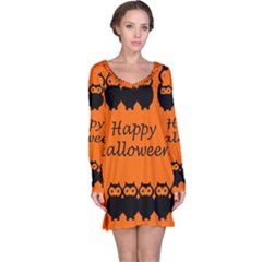 Happy Halloween - owls Long Sleeve Nightdress