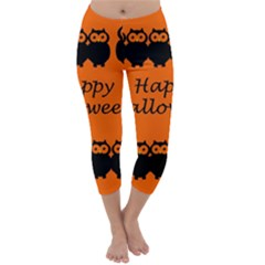 Happy Halloween - owls Capri Winter Leggings