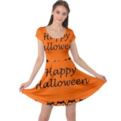 Happy Halloween - owls Cap Sleeve Dresses