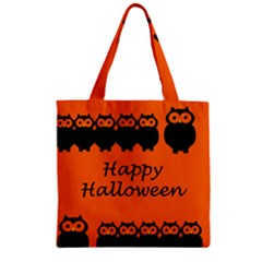 Happy Halloween   Owls Zipper Grocery Tote Bag