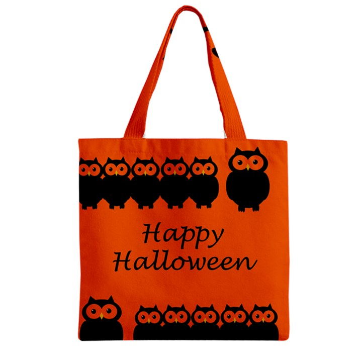Happy Halloween - owls Zipper Grocery Tote Bag
