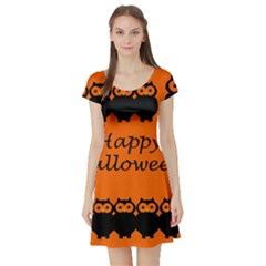 Happy Halloween - owls Short Sleeve Skater Dress