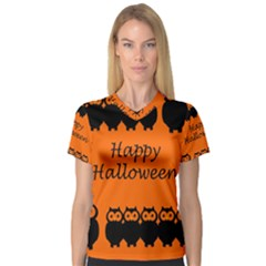 Happy Halloween   Owls Women s V Neck Sport Mesh Tee