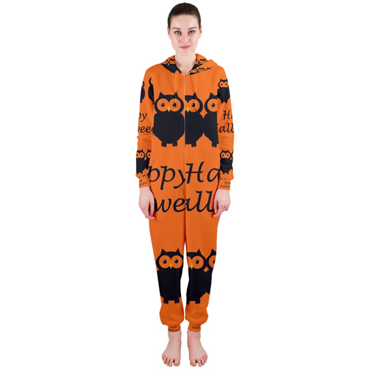 Happy Halloween - owls Hooded Jumpsuit (Ladies)