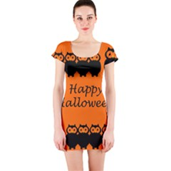Happy Halloween - owls Short Sleeve Bodycon Dress