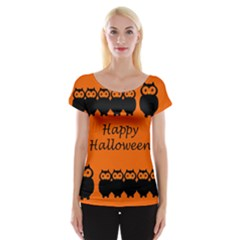 Happy Halloween - owls Women s Cap Sleeve Top