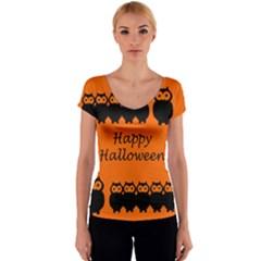 Happy Halloween - owls Women s V-Neck Cap Sleeve Top