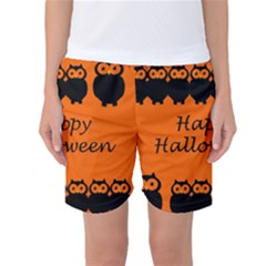 Happy Halloween - owls Women s Basketball Shorts