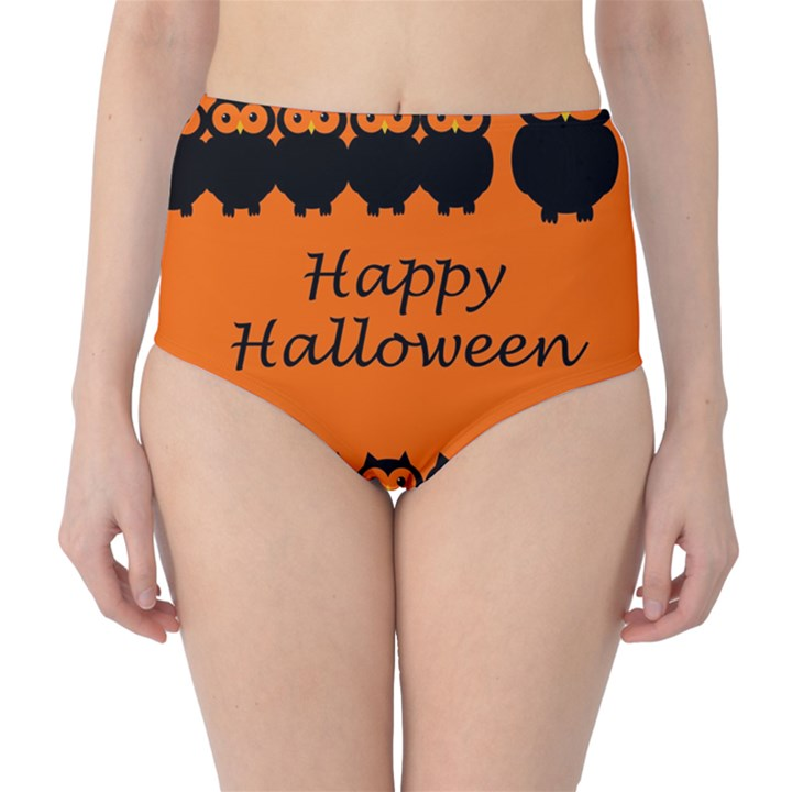 Happy Halloween - owls High-Waist Bikini Bottoms
