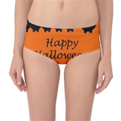 Happy Halloween - owls Mid-Waist Bikini Bottoms