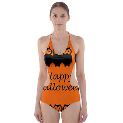 Happy Halloween - owls Cut-Out One Piece Swimsuit