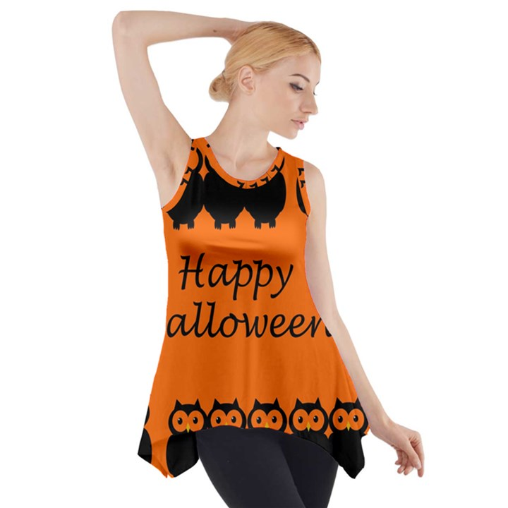 Happy Halloween - owls Side Drop Tank Tunic