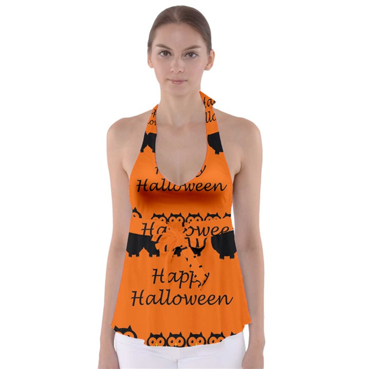 Happy Halloween - owls Babydoll Tankini Top