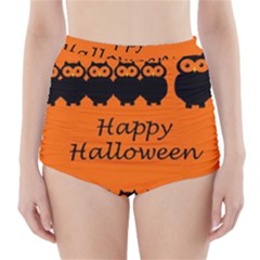 Happy Halloween - owls High-Waisted Bikini Bottoms