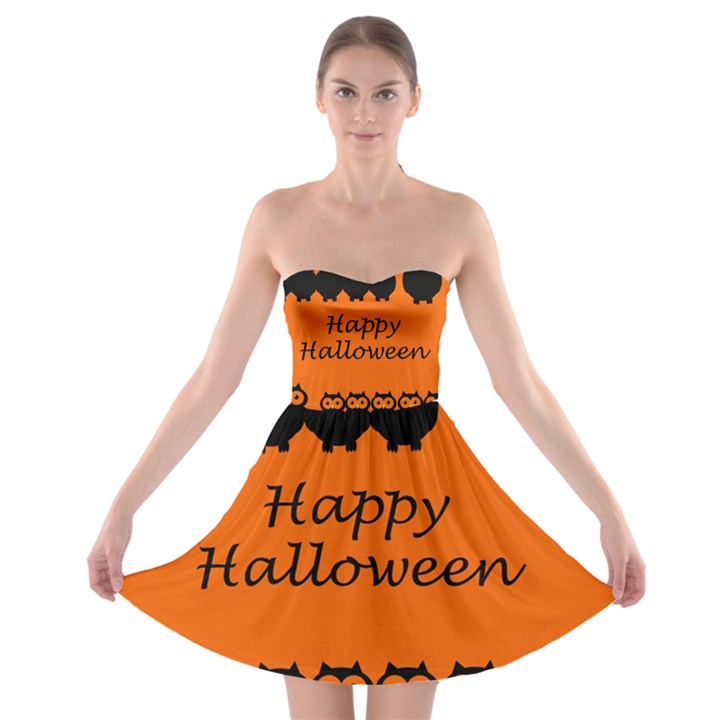 Happy Halloween - owls Strapless Bra Top Dress