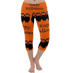 Happy Halloween   Owls Capri Yoga Leggings