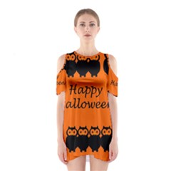 Happy Halloween   Owls Cutout Shoulder Dress