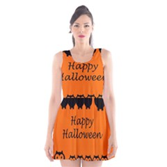 Happy Halloween - owls Scoop Neck Skater Dress