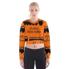 Happy Halloween - owls Women s Cropped Sweatshirt