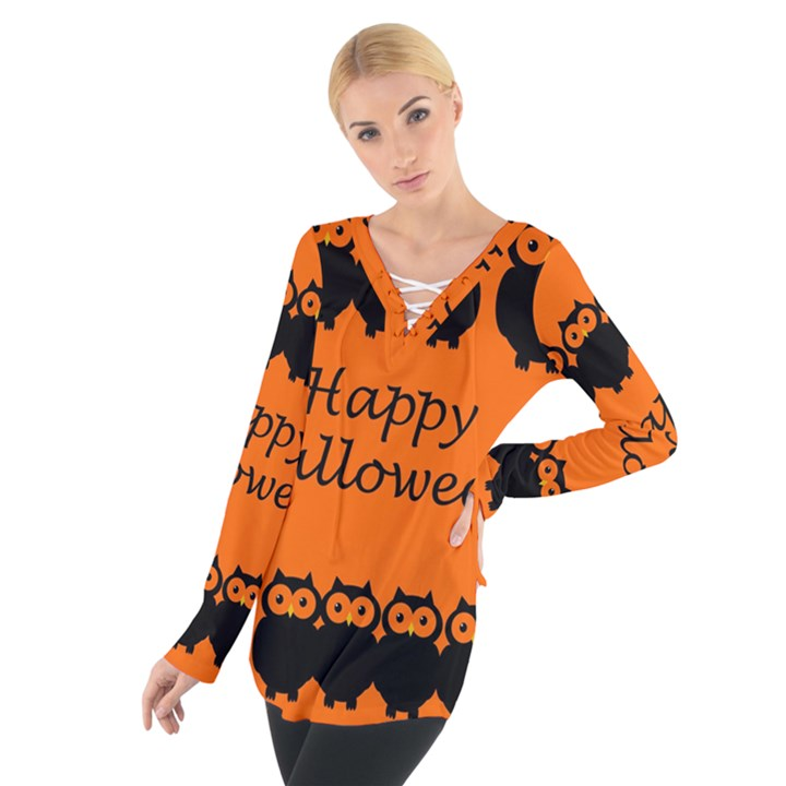 Happy Halloween - owls Women s Tie Up Tee