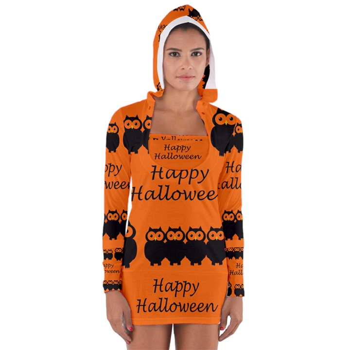 Happy Halloween - owls Women s Long Sleeve Hooded T-shirt