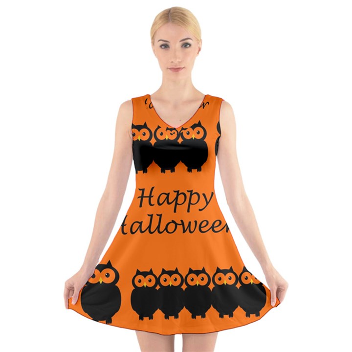 Happy Halloween - owls V-Neck Sleeveless Skater Dress