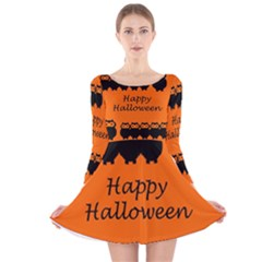 Happy Halloween - owls Long Sleeve Velvet Skater Dress