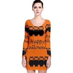 Happy Halloween - owls Long Sleeve Velvet Bodycon Dress