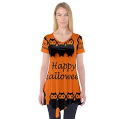 Happy Halloween   Owls Short Sleeve Tunic