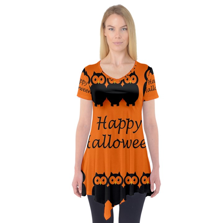 Happy Halloween - owls Short Sleeve Tunic