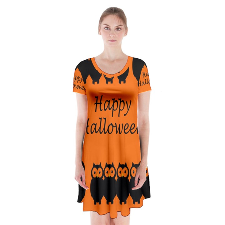 Happy Halloween - owls Short Sleeve V-neck Flare Dress