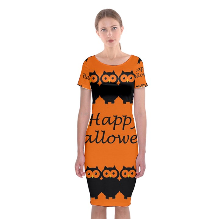 Happy Halloween - owls Classic Short Sleeve Midi Dress