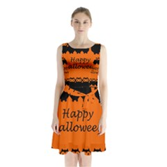 Happy Halloween   Owls Sleeveless Chiffon Waist Tie Dress