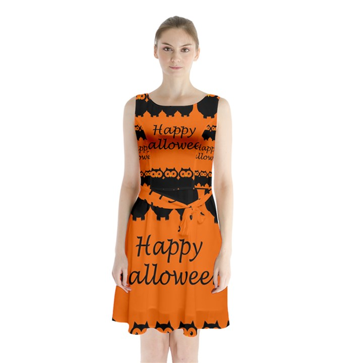 Happy Halloween - owls Sleeveless Chiffon Waist Tie Dress