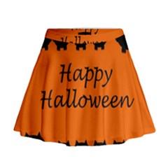 Happy Halloween - owls Mini Flare Skirt