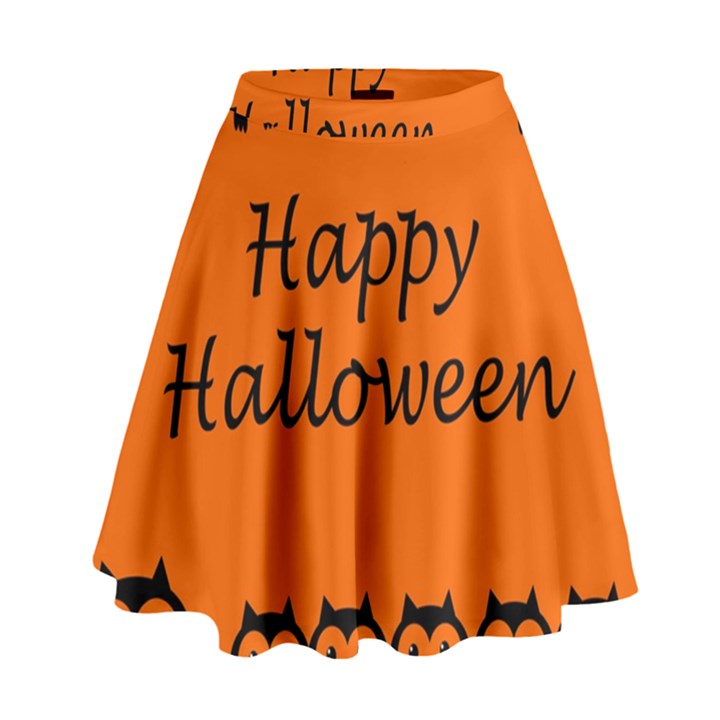 Happy Halloween - owls High Waist Skirt