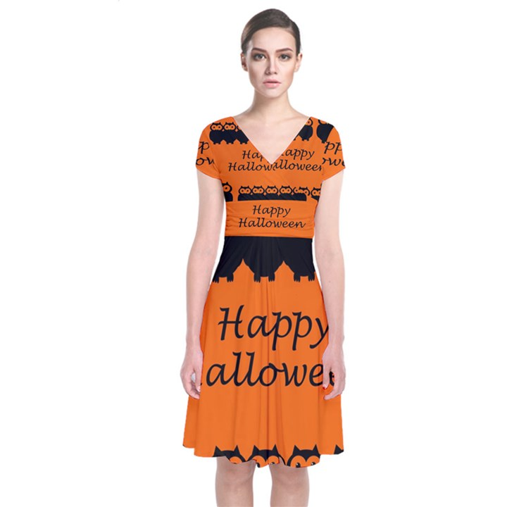 Happy Halloween - owls Short Sleeve Front Wrap Dress