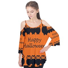 Happy Halloween   Owls Flutter Tees